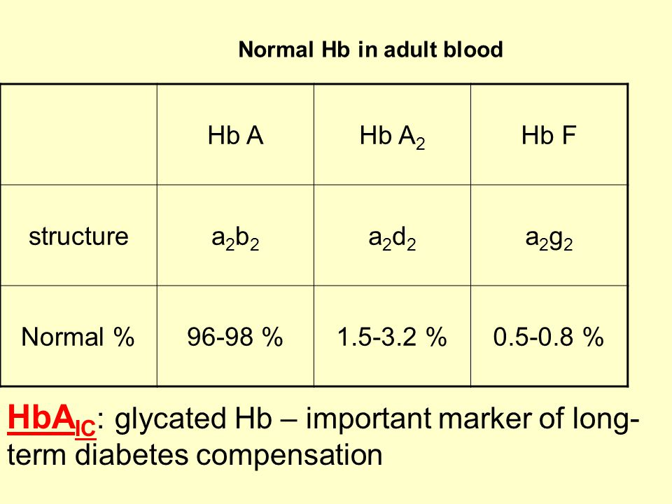 Normal Hb in adult blood Hb AHb A 2 Hb F structurea2b2a2b2 a2d2a2d2 a2g2a2g2 Normal %96-98 %1.5-3.2 %0.5-0.8 % HbA IC : glycated Hb – important marker