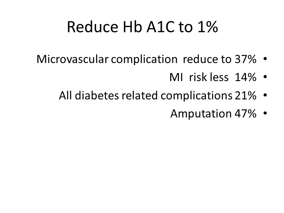 Reduce Hb A1C to 1% Microvascular complication reduce to 37% MI risk less 14% All diabetes related complications 21% Amputation 47%