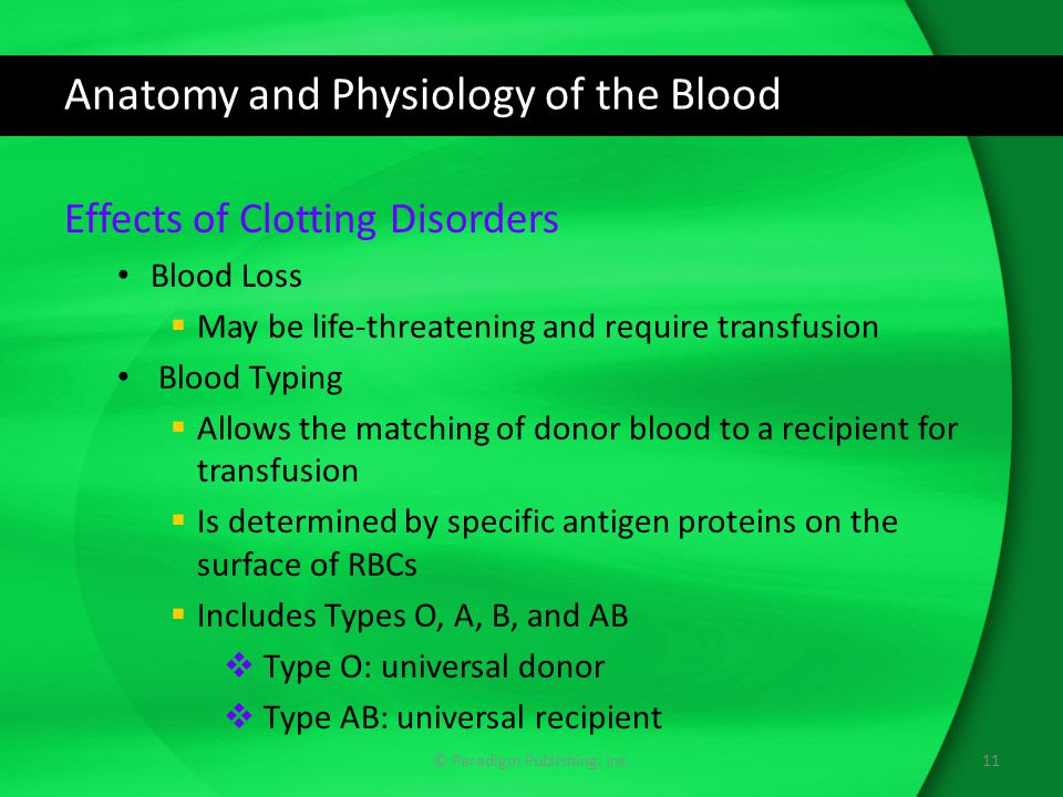 Anatomy and Physiology of the Blood Effects of Clotting Disorders Blood Loss  May be life-threatening and require transfusion Blood Typing  Allows the matching of donor blood to a recipient for transfusion  Is determined by specific antigen proteins on the surface of RBCs  Includes Types O, A, B, and AB  Type O: universal donor  Type AB: universal recipient © Paradigm Publishing, Inc.11
