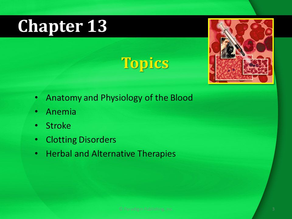 Chapter 13 Topics Anatomy and Physiology of the Blood Anemia Stroke Clotting Disorders Herbal and Alternative Therapies 3© Paradigm Publishing, Inc.