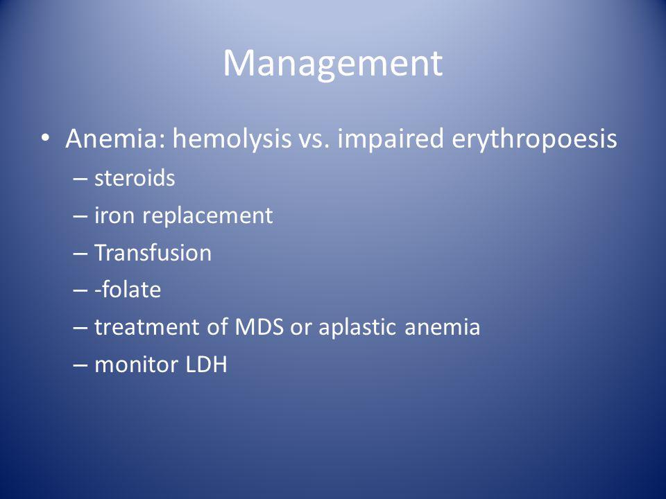 Management Anemia: hemolysis vs.