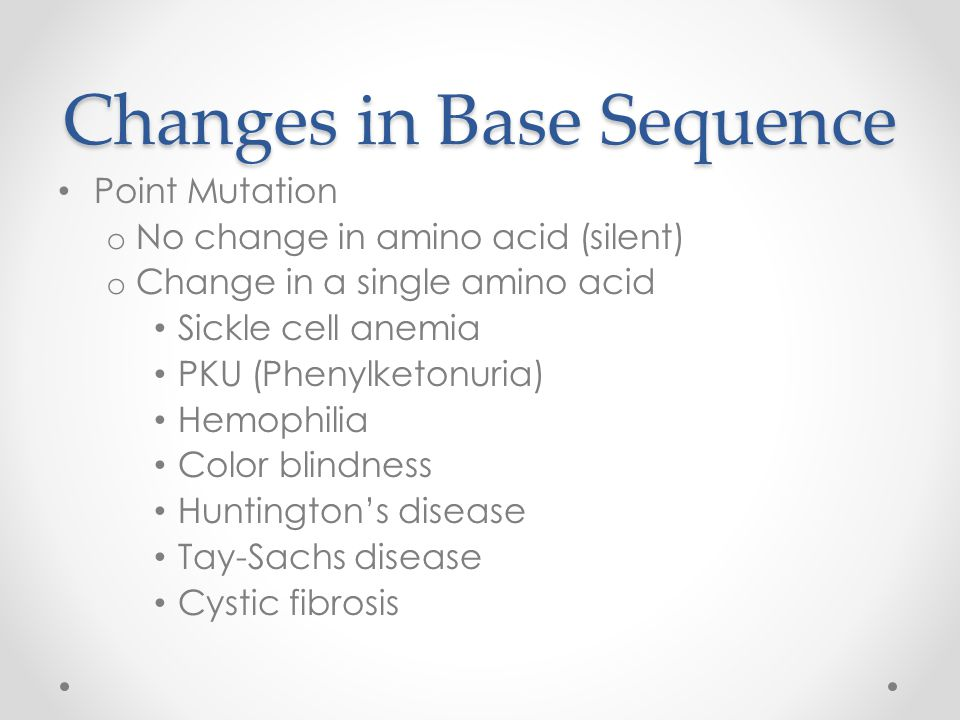 Changes in Base Sequence Point Mutation o No change in amino acid (silent) o Change in a single amino acid Sickle cell anemia PKU (Phenylketonuria) Hemophilia Color blindness Huntington's disease Tay-Sachs disease Cystic fibrosis