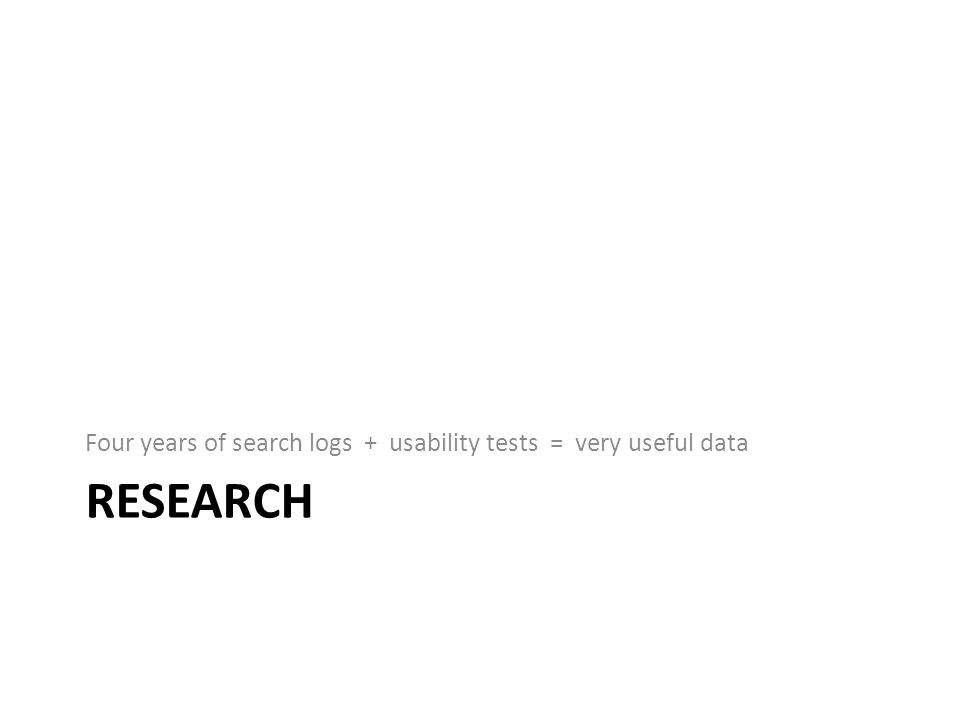 RESEARCH Four years of search logs + usability tests = very useful data