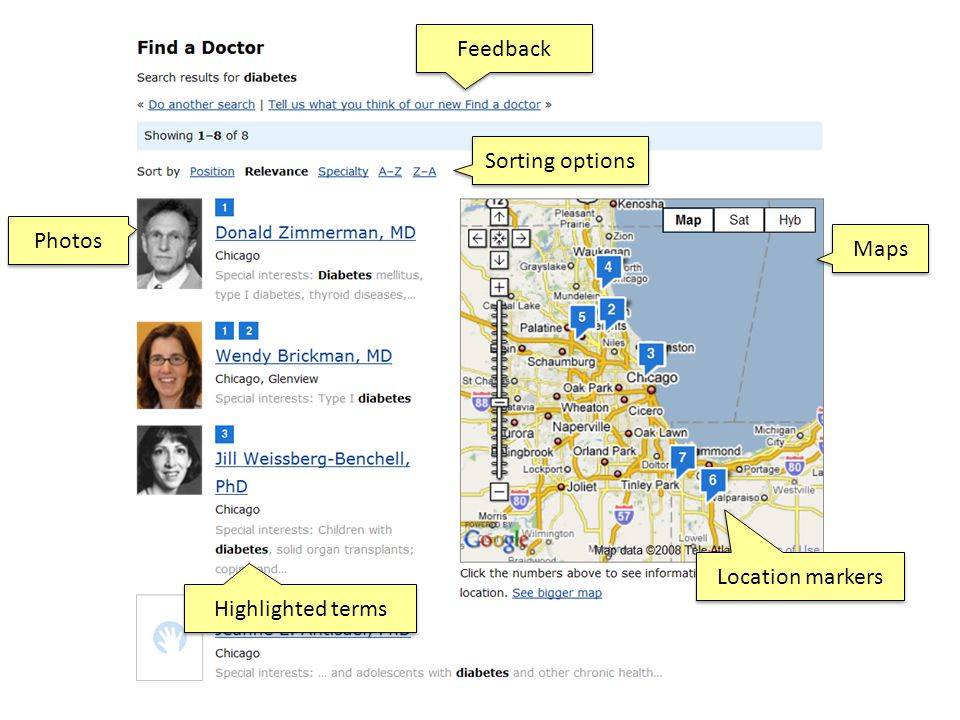 Photos Maps Sorting options Location markers Highlighted terms Feedback