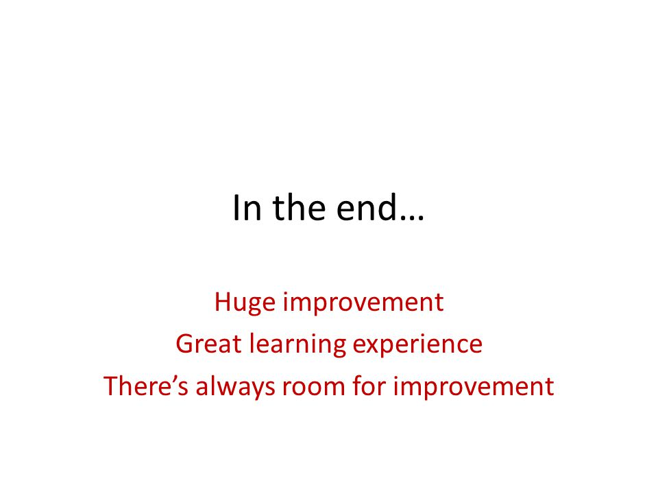 In the end… Huge improvement Great learning experience There's always room for improvement