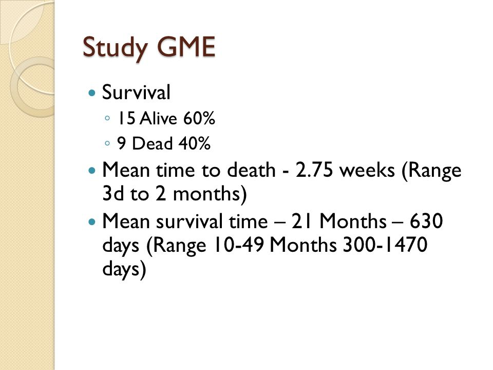 Study GME Survival ◦ 15 Alive 60% ◦ 9 Dead 40% Mean time to death - 2.75 weeks (Range 3d to 2 months) Mean survival time – 21 Months – 630 days (Range