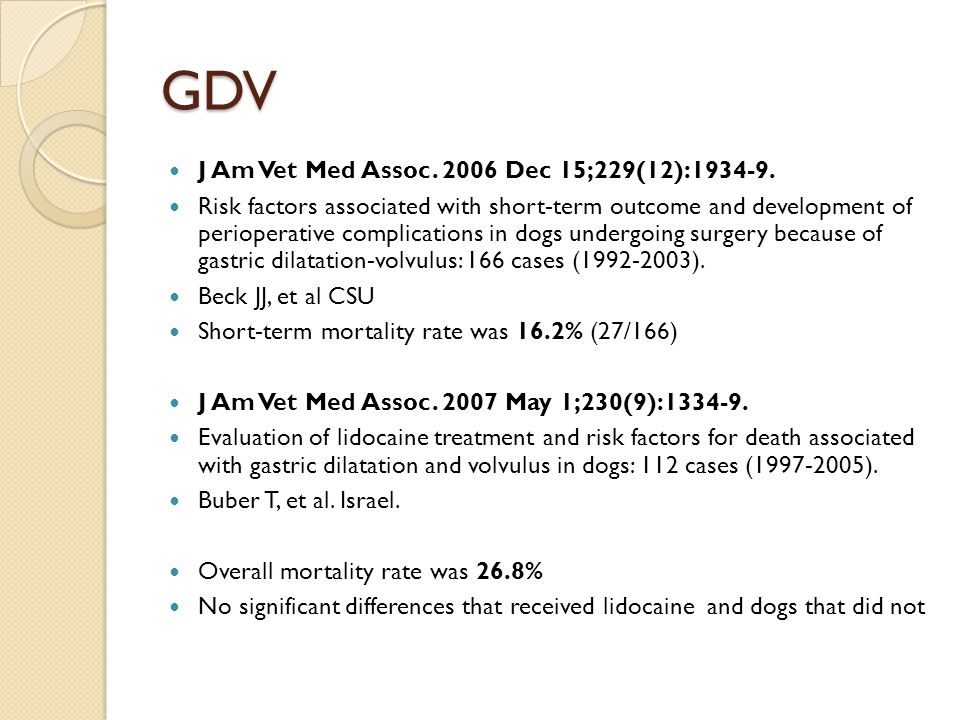 GDV J Am Vet Med Assoc. 2006 Dec 15;229(12):1934-9. Risk factors associated with short-term outcome and development of perioperative complications in