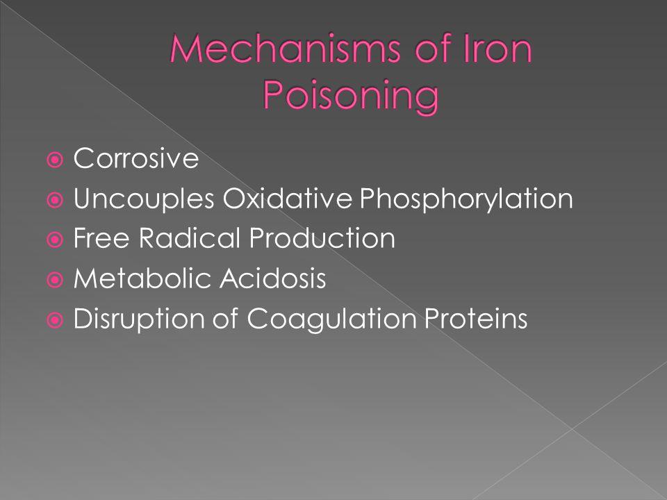 Corrosive  Uncouples Oxidative Phosphorylation  Free Radical Production  Metabolic Acidosis  Disruption of Coagulation Proteins