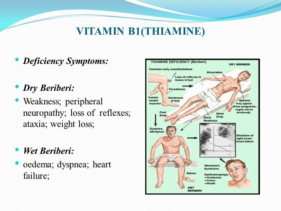 Deficiency Symptoms: Dry Beriberi: Weakness; peripheral neuropathy; loss of reflexes; ataxia; weight loss; Wet Beriberi: oedema; dyspnea; heart failure;