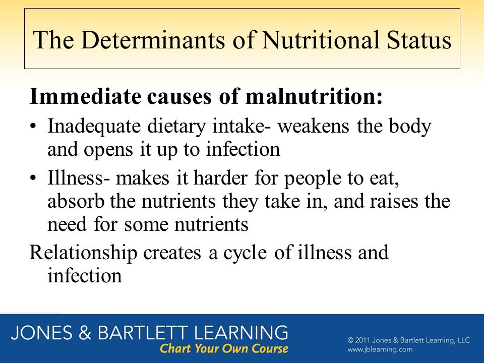 The Determinants of Nutritional Status Immediate causes of malnutrition: Inadequate dietary intake- weakens the body and opens it up to infection Illn