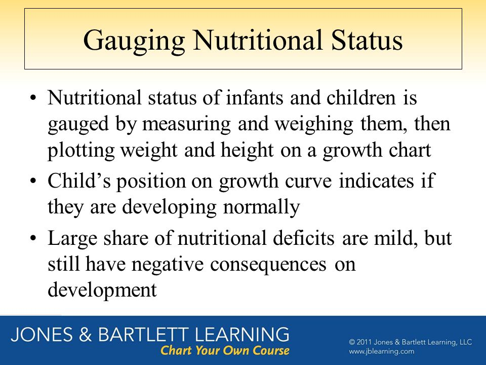 Gauging Nutritional Status Nutritional status of infants and children is gauged by measuring and weighing them, then plotting weight and height on a g
