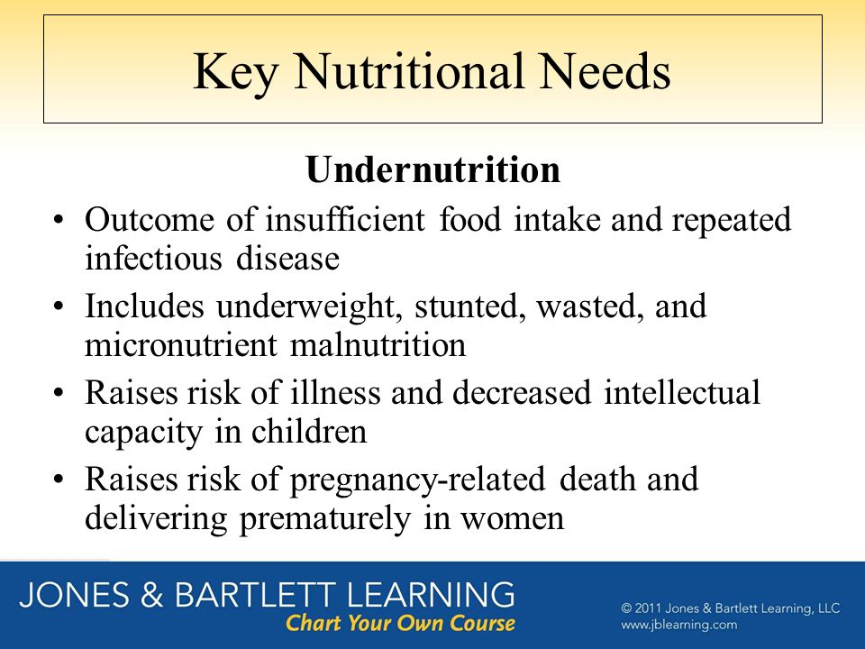 Key Nutritional Needs Undernutrition Outcome of insufficient food intake and repeated infectious disease Includes underweight, stunted, wasted, and mi