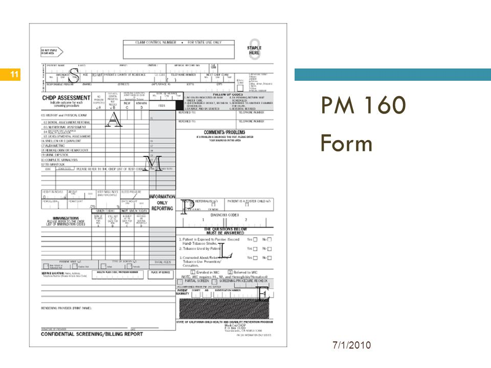 PM 160 Form 7/1/2010 11