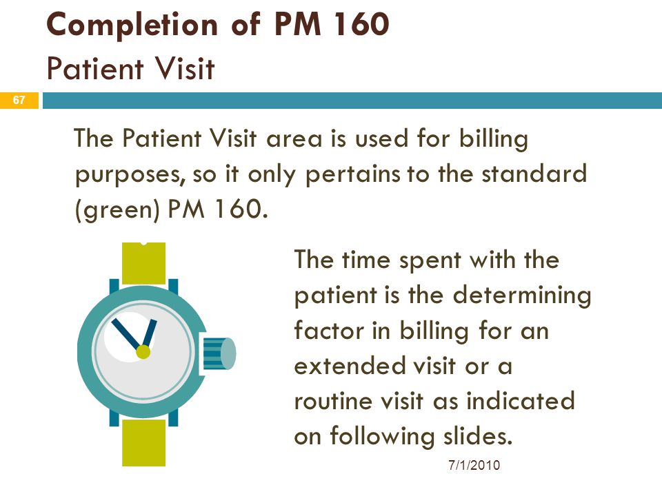 67 Completion of PM 160 Patient Visit The Patient Visit area is used for billing purposes, so it only pertains to the standard (green) PM 160. The tim