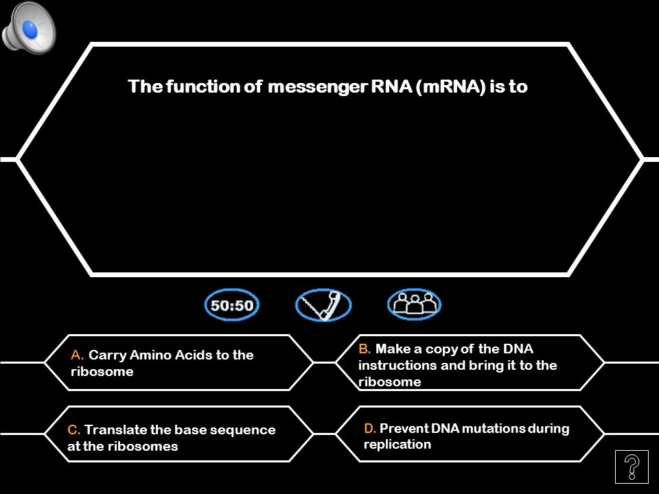 A. Transfer an amino acid to the ribosome The function of ribosomal RNA (rRNA) is to B.