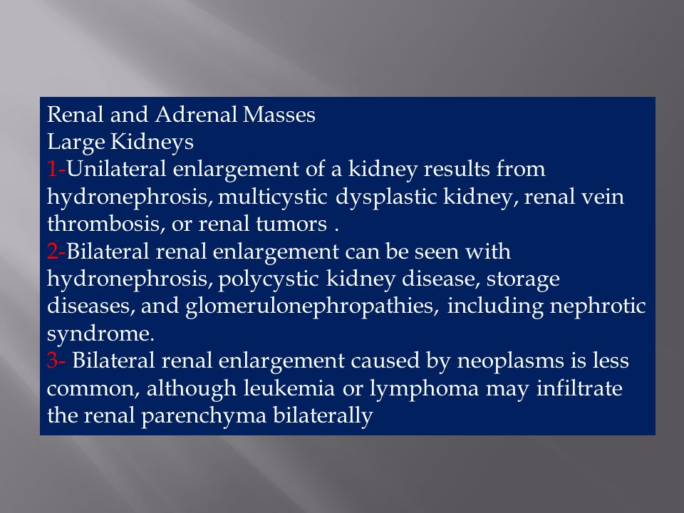 Diffuse adrenal enlargement occurs with adrenocortical hyperplasia, which causes adrenogenital syndrome.