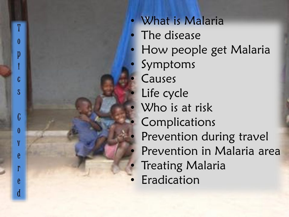 What is Malaria The disease How people get Malaria Symptoms Causes Life cycle Who is at risk Complications Prevention during travel Prevention in Malaria area Treating Malaria Eradication