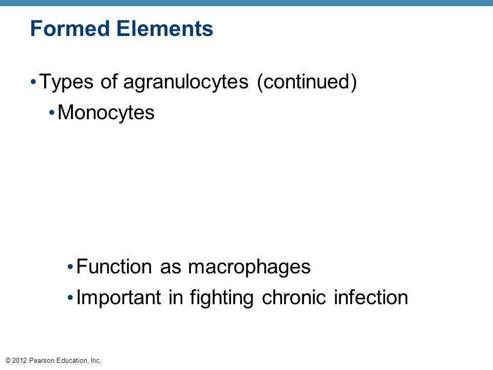 © 2012 Pearson Education, Inc. Formed Elements Types of agranulocytes (continued) Monocytes Function as macrophages Important in fighting chronic infe