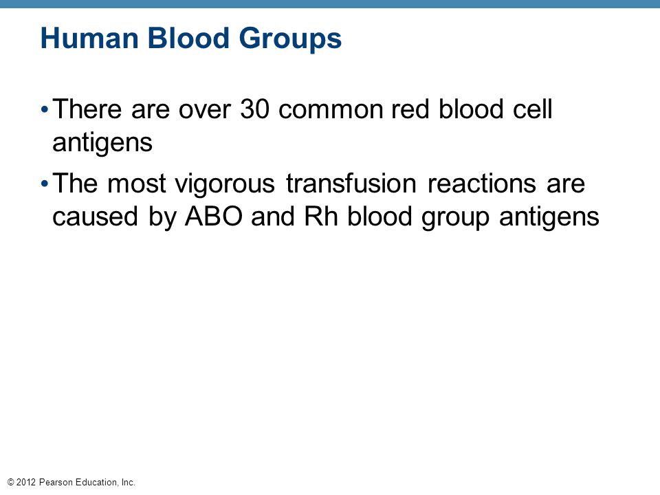 © 2012 Pearson Education, Inc. Human Blood Groups There are over 30 common red blood cell antigens The most vigorous transfusion reactions are caused