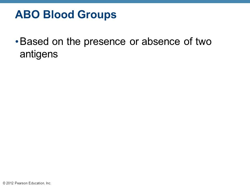 © 2012 Pearson Education, Inc. ABO Blood Groups Based on the presence or absence of two antigens