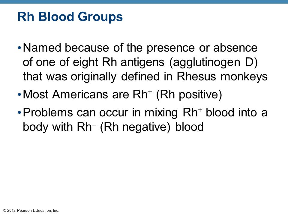 © 2012 Pearson Education, Inc. Rh Blood Groups Named because of the presence or absence of one of eight Rh antigens (agglutinogen D) that was original