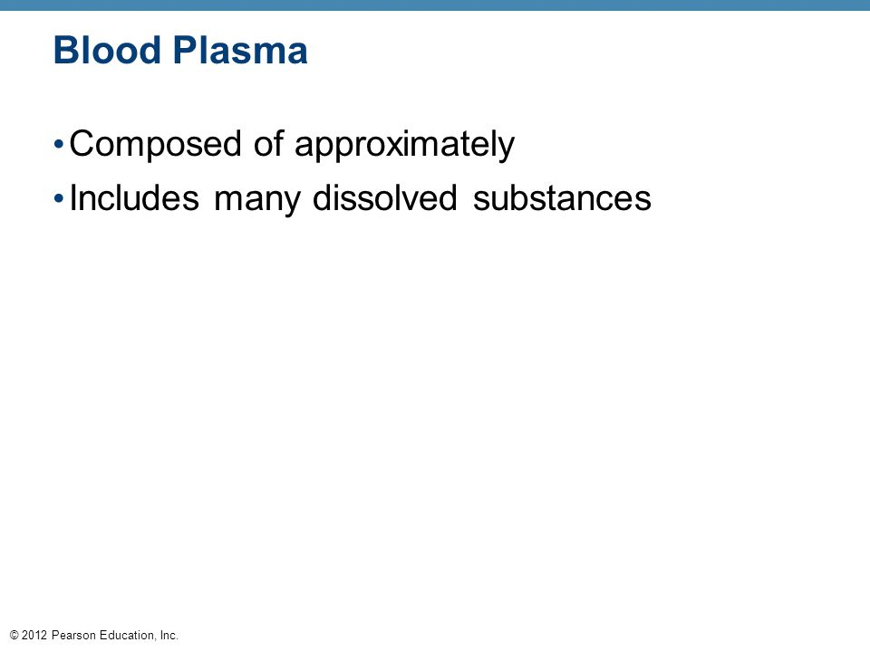 © 2012 Pearson Education, Inc. Blood Plasma Composed of approximately Includes many dissolved substances