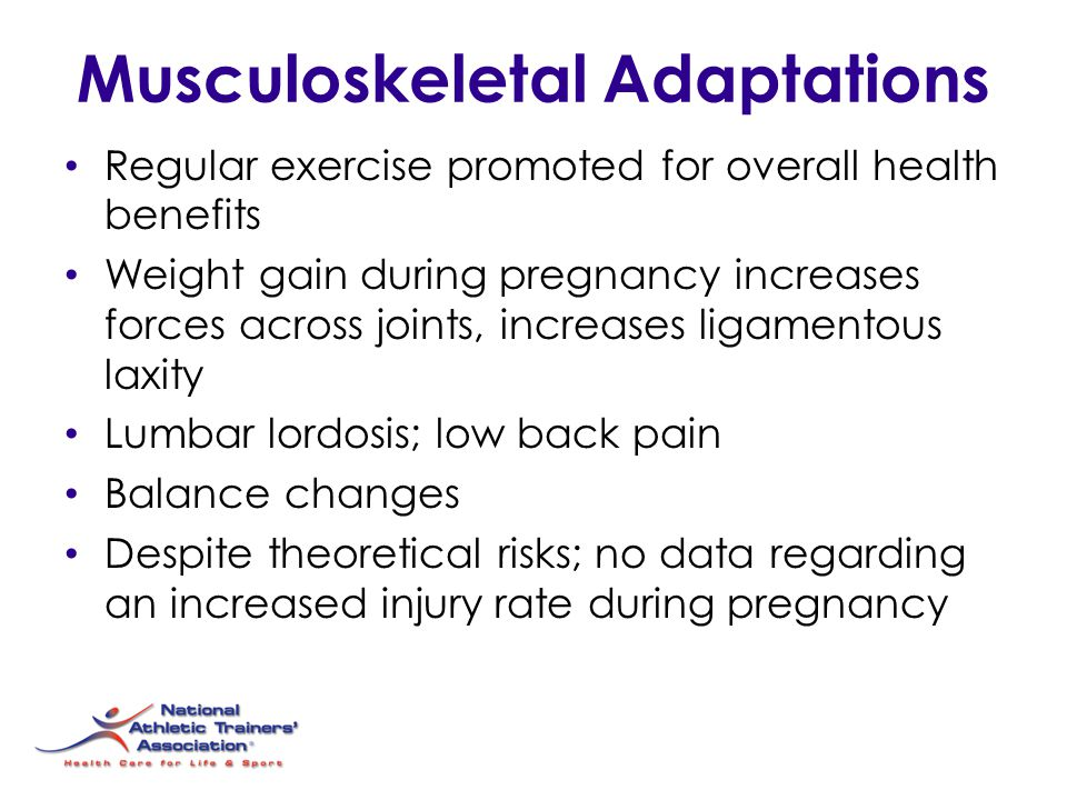 Musculoskeletal Adaptations Regular exercise promoted for overall health benefits Weight gain during pregnancy increases forces across joints, increas