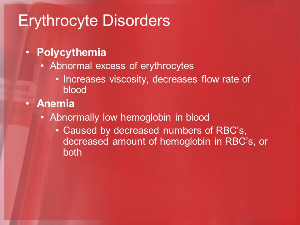 Polycythemia Abnormal excess of erythrocytes Increases viscosity, decreases flow rate of blood Anemia Abnormally low hemoglobin in blood Caused by decreased numbers of RBC's, decreased amount of hemoglobin in RBC's, or both Erythrocyte Disorders