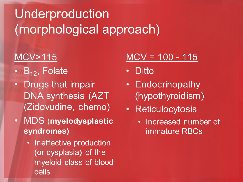 Underproduction (morphological approach) MCV>115 B 12, Folate Drugs that impair DNA synthesis (AZT (Zidovudine, chemo) MDS (myelodysplastic syndromes) Ineffective production (or dysplasia) of the myeloid class of blood cells MCV = 100 - 115 Ditto Endocrinopathy (hypothyroidism) Reticulocytosis Increased number of immature RBCs