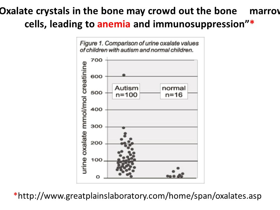 *http://www.greatplainslaboratory.com/home/span/oxalates.asp Oxalate crystals in the bone may crowd out the bone marrow cells, leading to anemia and immunosuppression *