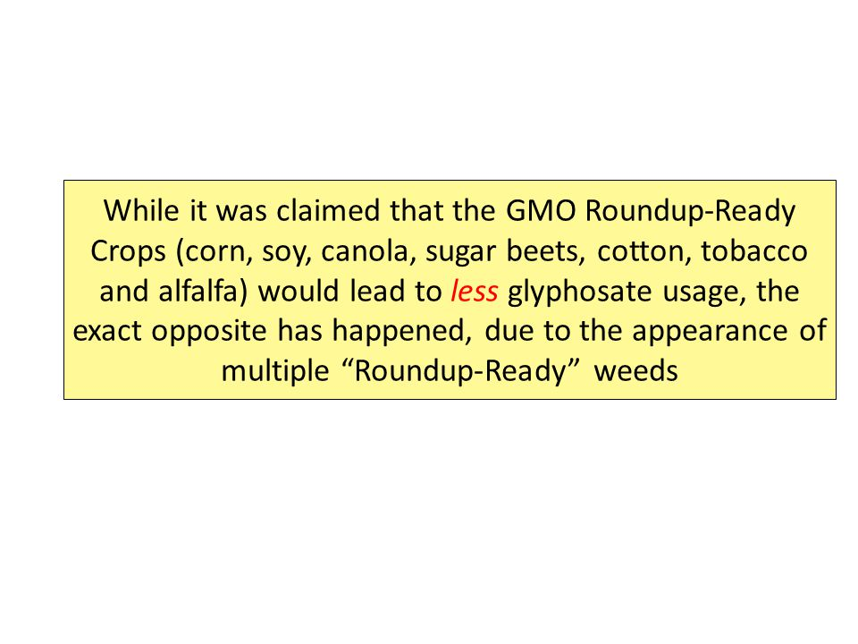 While it was claimed that the GMO Roundup-Ready Crops (corn, soy, canola, sugar beets, cotton, tobacco and alfalfa) would lead to less glyphosate usage, the exact opposite has happened, due to the appearance of multiple Roundup-Ready weeds