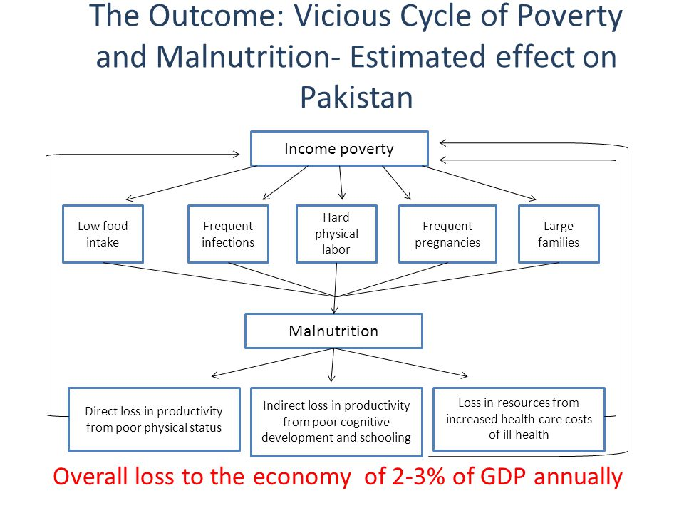 The Outcome: Vicious Cycle of Poverty and Malnutrition- Estimated effect on Pakistan Low food intake Frequent infections Hard physical labor Frequent