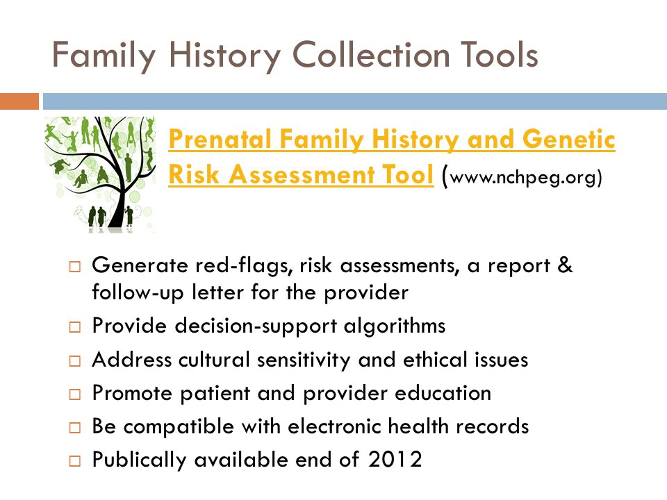  Generate red-flags, risk assessments, a report & follow-up letter for the provider  Provide decision-support algorithms  Address cultural sensitivity and ethical issues  Promote patient and provider education  Be compatible with electronic health records  Publically available end of 2012 Prenatal Family History and Genetic Risk Assessment ToolPrenatal Family History and Genetic Risk Assessment Tool ( www.nchpeg.org)
