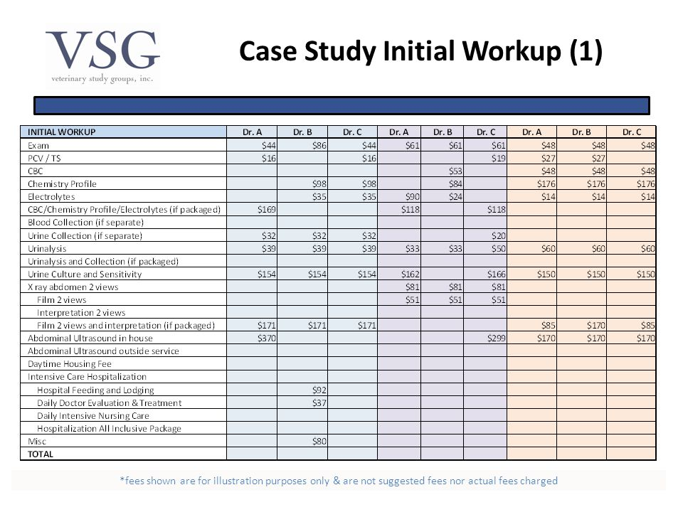 Case Study Initial Workup (1) *fees shown are for illustration purposes only & are not suggested fees nor actual fees charged