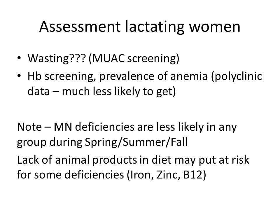 Assessment lactating women Wasting .