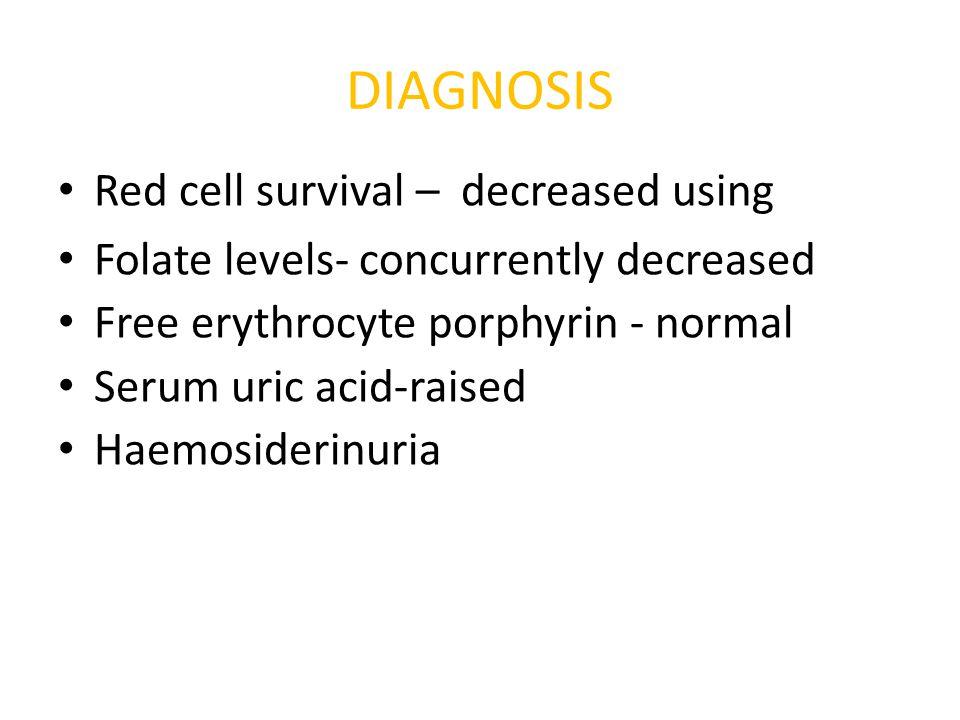 Red cell survival – decreased using Folate levels- concurrently decreased Free erythrocyte porphyrin - normal Serum uric acid-raised Haemosiderinuria