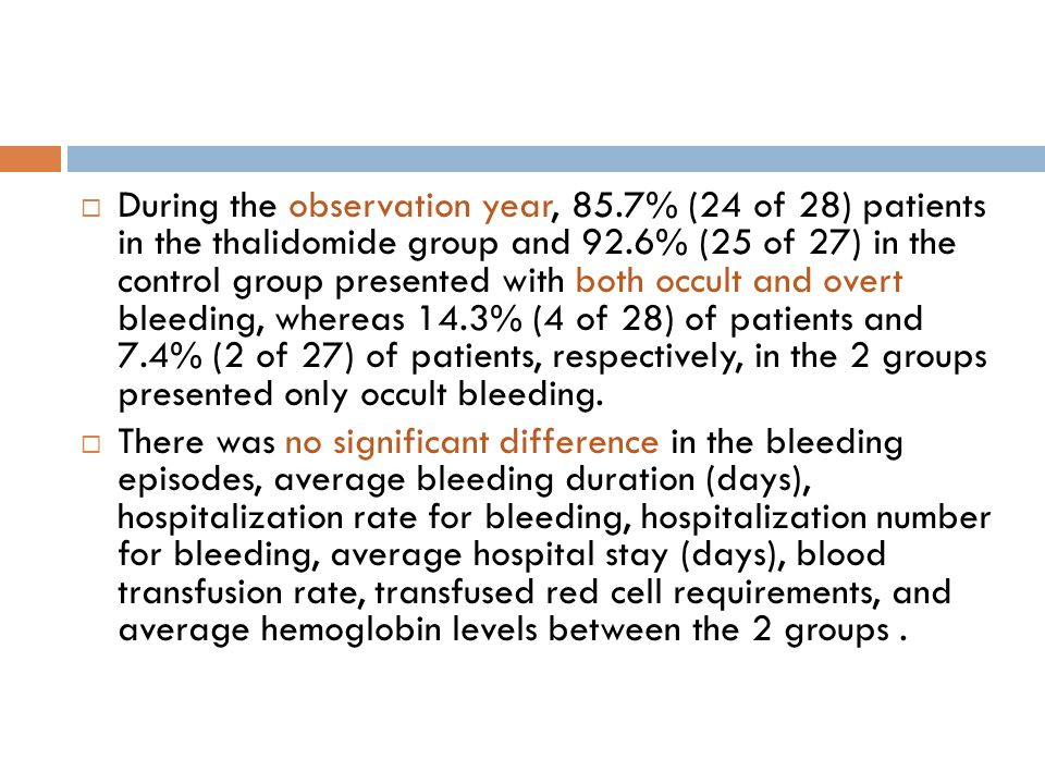  During the observation year, 85.7% (24 of 28) patients in the thalidomide group and 92.6% (25 of 27) in the control group presented with both occult