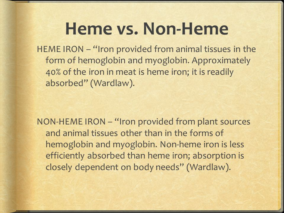 """Heme vs. Non-Heme HEME IRON – """"Iron provided from animal tissues in the form of hemoglobin and myoglobin. Approximately 40% of the iron in meat is hem"""