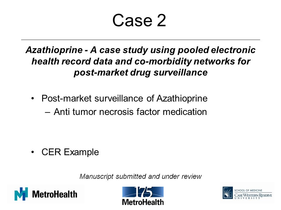 Case 2 Post-market surveillance of Azathioprine –Anti tumor necrosis factor medication CER Example Azathioprine - A case study using pooled electronic health record data and co-morbidity networks for post-market drug surveillance Manuscript submitted and under review
