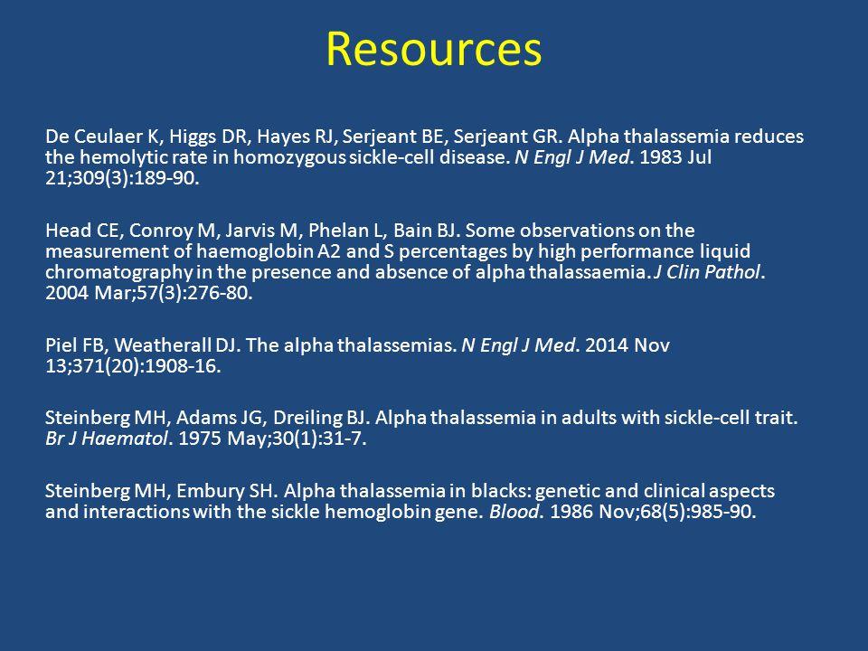 Resources De Ceulaer K, Higgs DR, Hayes RJ, Serjeant BE, Serjeant GR.
