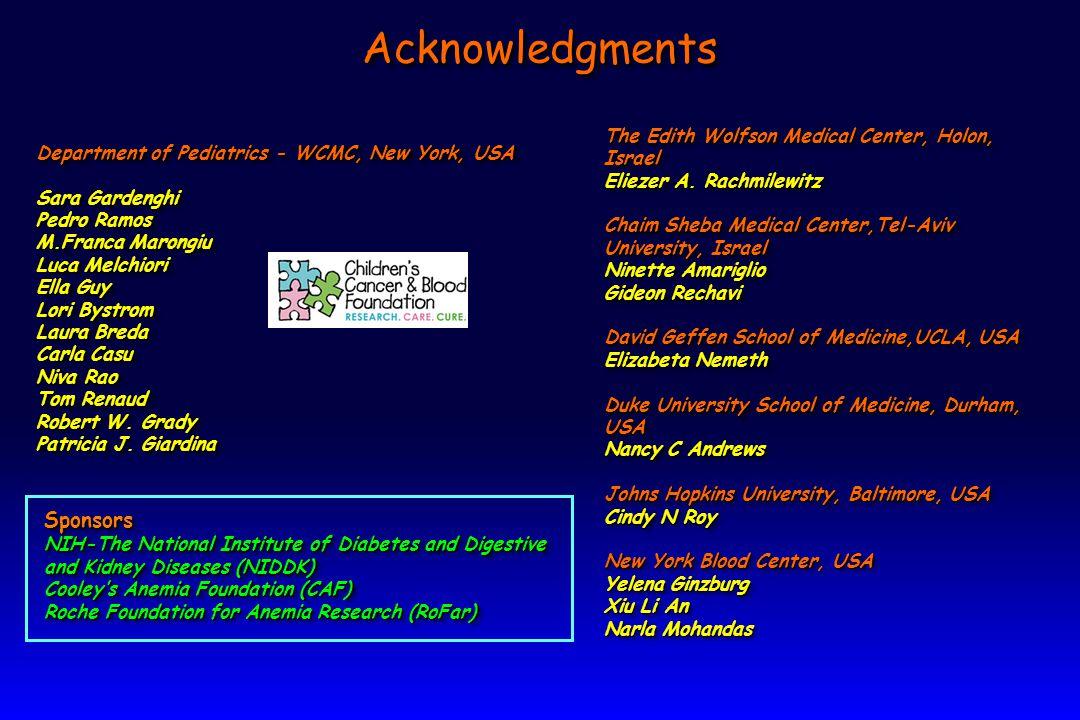 AcknowledgmentsAcknowledgments Department of Pediatrics - WCMC, New York, USA Sara Gardenghi Pedro Ramos M.Franca Marongiu Luca Melchiori Ella Guy Lori Bystrom Laura Breda Carla Casu Niva Rao Tom Renaud Robert W.