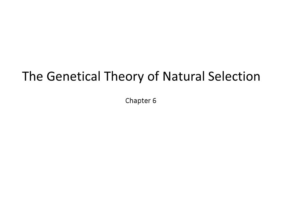 The Genetical Theory of Natural Selection Chapter 6