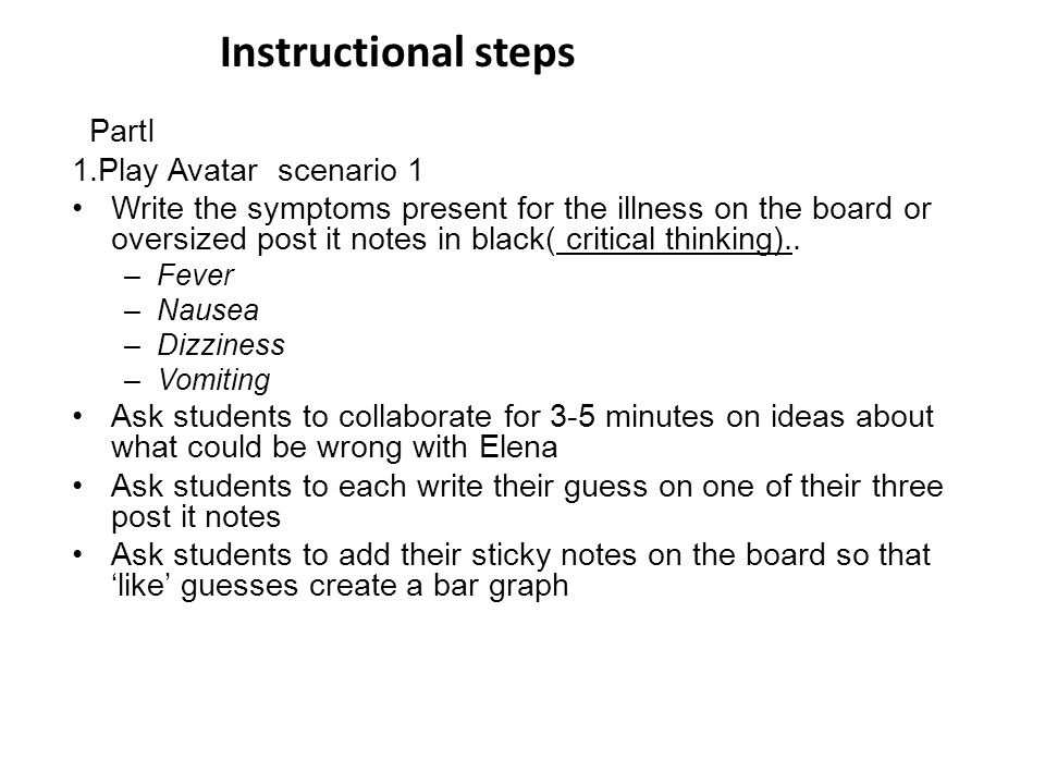 PartI 1.Play Avatar scenario 1 Write the symptoms present for the illness on the board or oversized post it notes in black( critical thinking).. –Feve