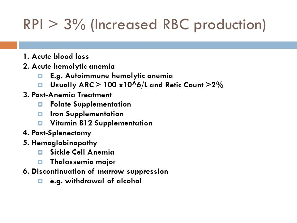 RPI > 3% (Increased RBC production) 1. Acute blood loss 2.