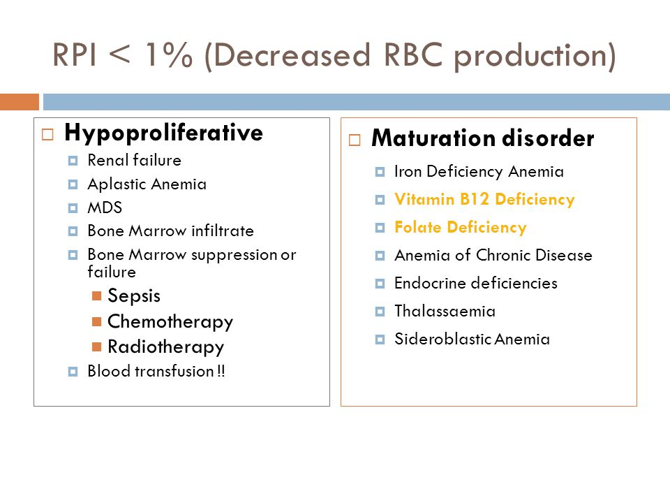 RPI < 1% (Decreased RBC production)  Hypoproliferative  Renal failure  Aplastic Anemia  MDS  Bone Marrow infiltrate  Bone Marrow suppression or failure Sepsis Chemotherapy Radiotherapy  Blood transfusion !.