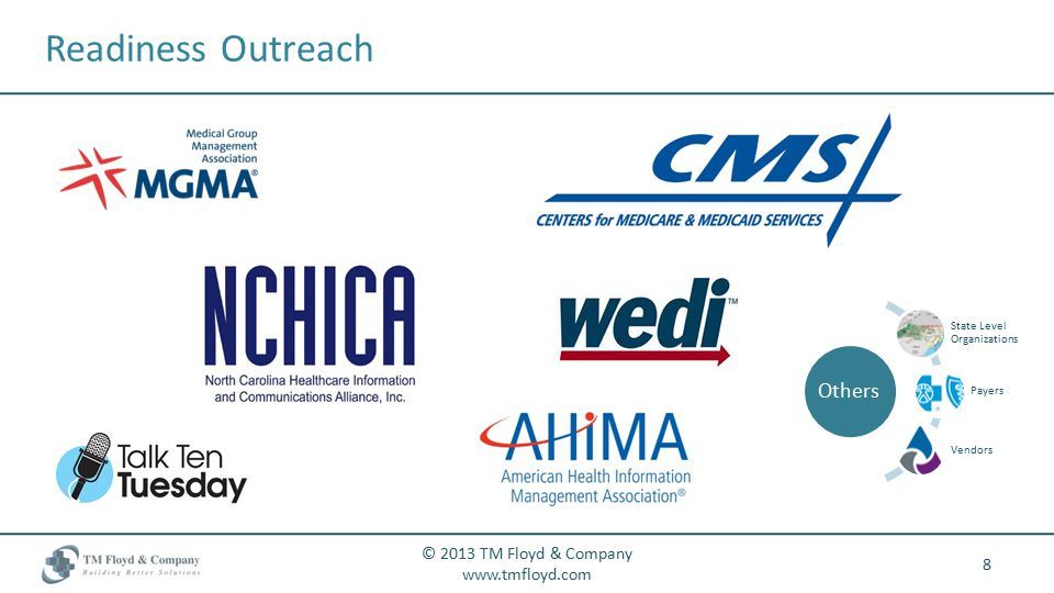 Readiness Outreach 8 © 2013 TM Floyd & Company www.tmfloyd.com Others State Level Organizations Payers Vendors