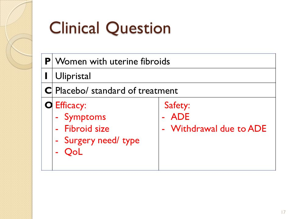 Clinical Question PWomen with uterine fibroids IUlipristal CPlacebo/ standard of treatment OEfficacy: -Symptoms -Fibroid size -Surgery need/ type -QoL Safety: -ADE -Withdrawal due to ADE 17