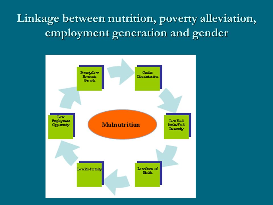 Linkage between nutrition, poverty alleviation, employment generation and gender
