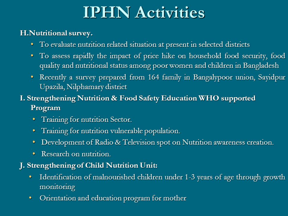 IPHN Activities H.Nutritional survey.