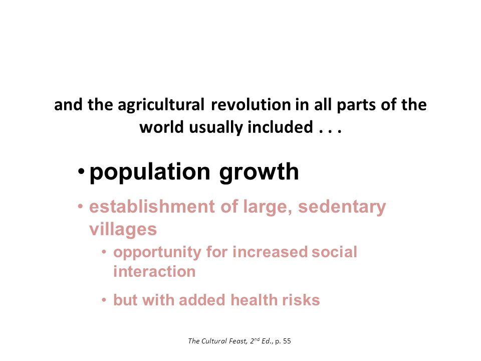 and the agricultural revolution in all parts of the world usually included...